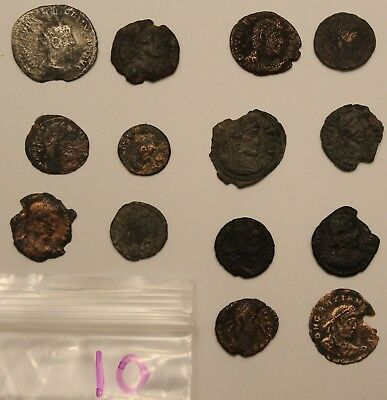14 Cleaned Ancient Roman Coin Lot 10 Bronze and Silver Lot