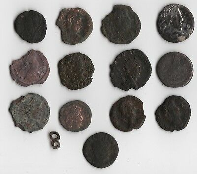 13 Cleaned Ancient Roman Coin Lot 8 Silver and Bronze Lot