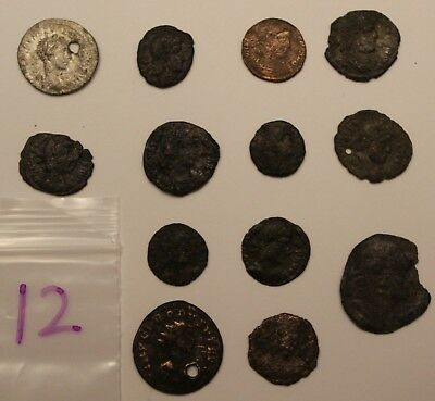 13 Cleaned Ancient Roman Coin Lot 12 Large Silver and Bronze Lot