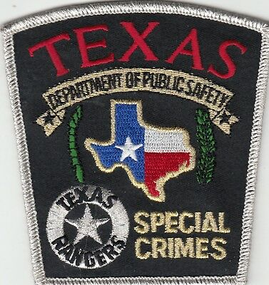 """Texas Rangers Dept Of Public Safety """"special Crimes"""" Patch Tx"""