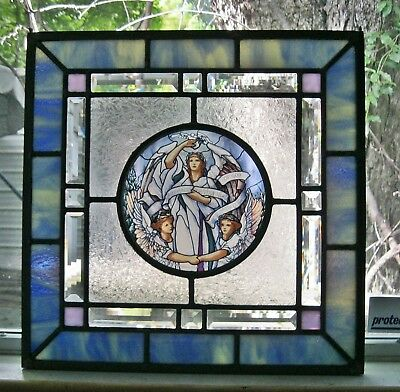 """Peacemakers Angels Medallion Stained Glass Panel in Lead Came 14 7/8"""" x 14 7.8"""""""