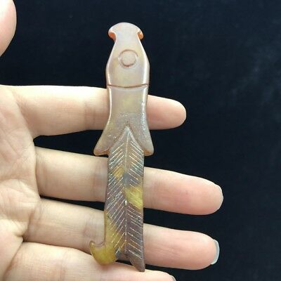 Chinese antique, jade, hand-made carving Fine fish Pendant  a576