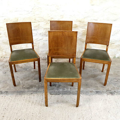 Art Deco Set of 4 Walnut Upholstered Dining Chairs - C1920 (Vintage Antique)