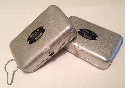 Lot of 2 Vintage UMCO P-9 Double Sided Aluminum Fly Lure Tackle Box Boxes