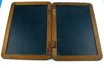 VINTAGE Antique? 2 PIECE DOUBLE SIDED Hinged CHILDs SCHOOL SLATE CHALKBOARD NiCe