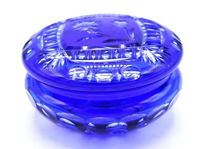 Vintage Cobalt Blue Cut to Clear Crystal Powder/Puff Jar with Lid- Floral Patten