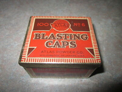 Antique Atlas Powder Company 100 No. 6 Blasting Caps Tin (Empty) Nice Litho