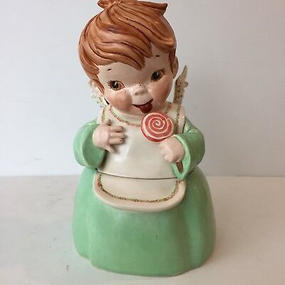 """Vintage 50s Ceramic Angel w Lollipop Christmas Cookie Candy Jar Container 8 1/2"""""""