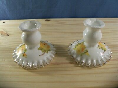 Pair of 2 Fenton Silver Crest Hand Painted Candle Holders - Yellow Rose Design