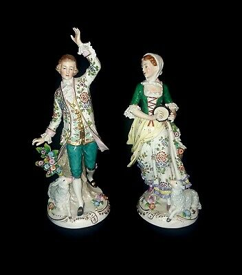 Pair of Antique Sitzendorf porcelain figurines Man And Woman with Lambs