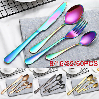 16-60 Piece Stainless Steel Cutlery Set Black Rose Gold Rainbow Knife Fork Spoon