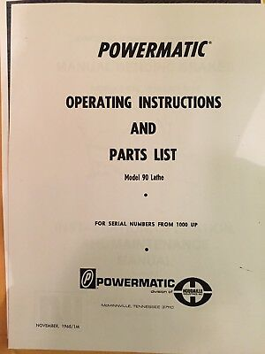 Powermatic Model 90 Wood Lathe Manual 1968