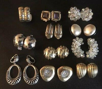Lot of 11 Pair Vintage To Now  CLIP-ON Style Earrings