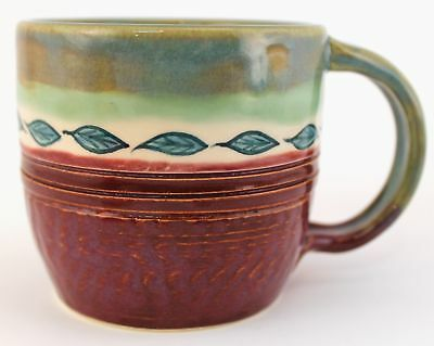 Hand Made Stoneware Pottery Mug Cup HP Leaves Wheel Thrown OOAK Coffee Cocoa