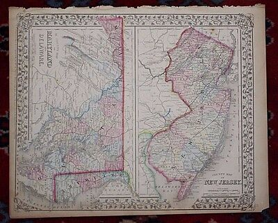 Mayland Delaware and New Jersey Rare Original Antique 1870 Mitchell's Atlas Map