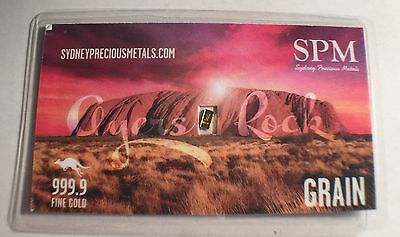 NEW 1 Troy Grain 999.9 Fine Solid Gold Ingot SPM a Safe Investment, Ayers Rock