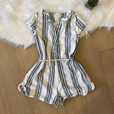 Zara Girls Striped Belted Romper Blue White Stripe Size 8