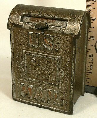 Vintage US Mail Cast Iron Toy Coin Combination Bank, Rare? No-Screw, NICE Shape