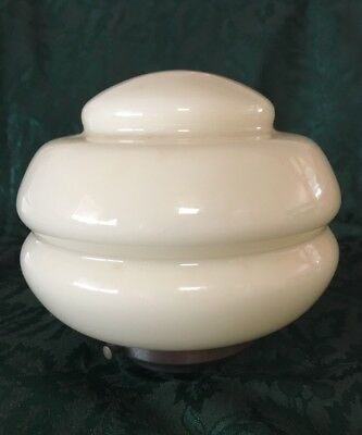 Art Deco Light Fitting - Original Milk Glass globe  with metal gallery
