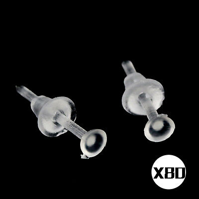 Clear Transparent Plastic Stem Rubber Allergy Ear Stud Earring 10x 20x 50x