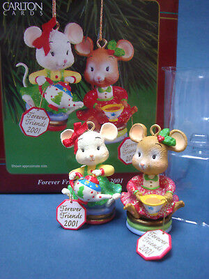 Carlton Cards 2001 Forever Friends 2 Girl Mice Drinking Tea Christmas Ornaments