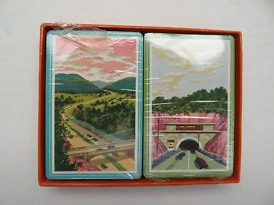 Vintage Pennsylvania Turnpike Souvenir Playing Cards, Double Deck, W/box New