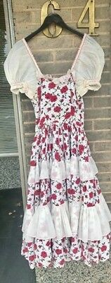 Vintage 1940s/ 1950s Vintage Red And white floral Ruffle Dress Small