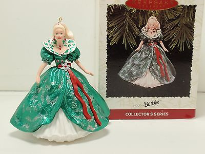 Holiday Barbie hallmark ornament 1995 3rd in series QXI5057 christmas dress gown
