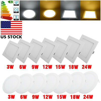 3W-24W Slim Surface Mounted Recessed LED Ceiling Flat Panel Light Lamp Downlight