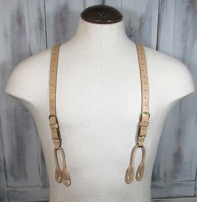 Buckled Vintage Young Mans Textured Almond Leather Button Trouser Suspenders