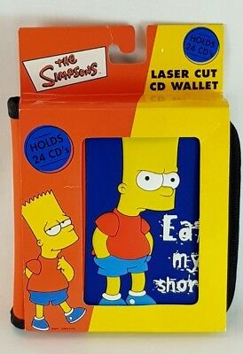 The Simpsons Laser Cut 24 CD Wallet Storage Music CD ROM Bart Eat My Shorts 3D