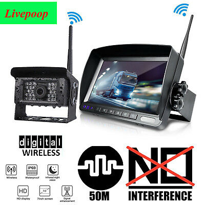 """Digital Wireless 7"""" HD Monitor Backup Camera Rear View System For Truck RV Bus"""