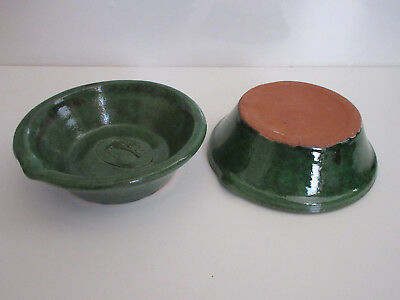 Vintage Paulino Green Glazed Heavy Pottery Bowls Set of Two Never used