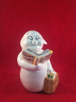 Halloween Ghost Figurine Holding Trick Or Treat Bag & Calorie Count Book  4 3/4""
