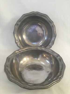 """Lot Of 2 Wilton Armetale RWP Queen Anne Pewter 10.25"""" Serving Bowls USA"""