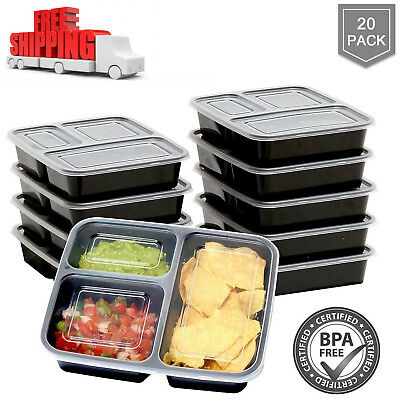 20 X Freezer Microwavable Meal Prep Containers Food Storage Boxes Keep Fresh B