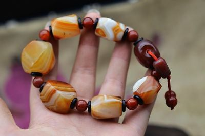 Tibet Fine Quality Natural Agate Beautiful Lines Beads Bracelet