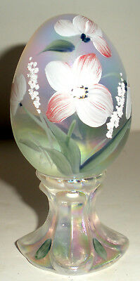 Hand Painted Floral Design Fenton Glass Egg Signed