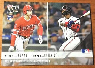Shohei Ohtani Ronald Acuna Jr. 2018 Topps NOW ROOKIE of the year AW-3 RC