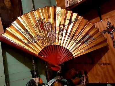 Fine Large Antique Chinese Hand Painted Bamboo And Teak Signed Brise Fan