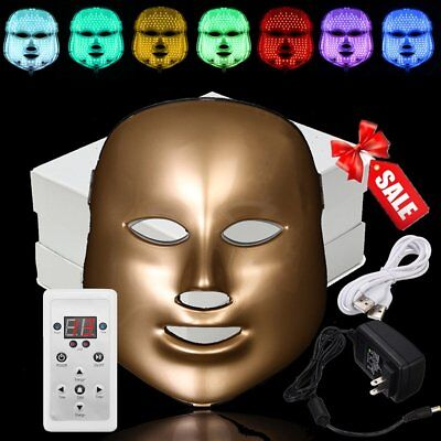 LED Light 7 Colors Photon Face Neck Mask Rejuvenation Skin Therapy Wrinkles MX