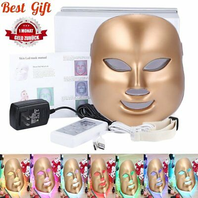 24K Gold LED Light Photon Therapy Face Mask Anti-aging Skin rejuvenation 7 Color