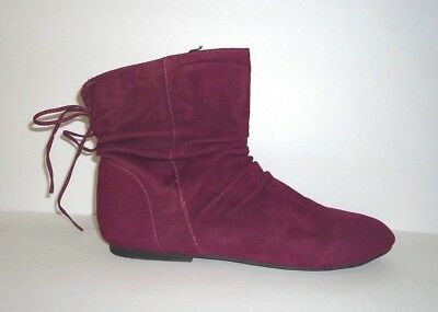 BAMBOO 9M Berry Suede Boots Booties Slouch Pirate Ankle Side Zip TINKER Manmade