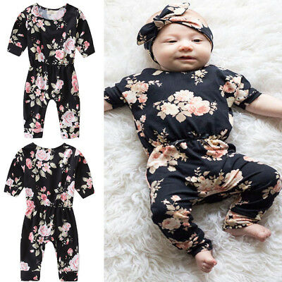 Canis Infant Baby Girls Floral Romper Bodysuit Jumpsuit Headband Outfit 2pcs