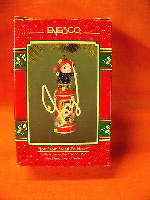 "1994 Enesco ""joy From Head To Hose"" Mouse Fireman On Fire Extinguisher In Box"