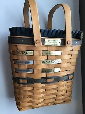 Longaberger 1998 Collector's Club Membership Basket Combo Set w/ 6 Years of Tags