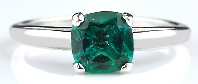 925 Sterling Silver Gold 1.40Ct Natural Green Emerald Cushion Cut Women's Ring