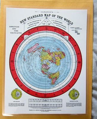 Laminated Gleasons Standard Map of the World mini map Flat Earth