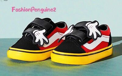 1dc8490ba5 💝Vans x Disney Old Skool V Mickey Mouse Hug Yellow Red Black Toddler  all