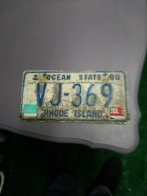 RHODE ISLAND blue anchor license plate VJ-369 front